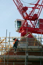 Crane and construction worker bricklaying, building site Warwickshire. - John Harris - 2000s,2007,bricklayer,bricklayers,bricklaying,building,building site,BUILDINGS,Construction Industry,crane,cranes,driver,drivers,DRIVING,EBF Economy,high up,job,jobs,LAB LBR Work,male,man,men,operator