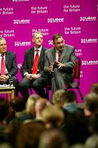 Deputy leadership candidates Peter Hain, Hilary Benn, and Jon Cruddas (speaking) at the hustings. - John Harris - 21-05-2007