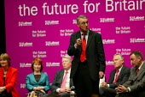 Six deputy leadership candidates, Harriet Harman, Hazel Blears, Alan Johnson, Hilary Benn, Peter Hain and Jon Cruddas at the hustings. - John Harris - 21-05-2007