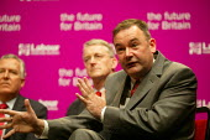 Deputy leadership candidates Peter Hain, Hilary Benn and Jon Cruddas at the hustings. - John Harris - 21-05-2007