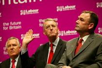 Deputy leadership candidates Peter Hain, Hilary Benn (speaking) and Jon Cruddas at the hustings. - John Harris - 21-05-2007