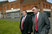 Jon Cruddas MP Deputy leadership campaign launch, Wednesbury, West Midlands. Walking through the run down estate with Tom Watson MP - John Harris - 22-05-2007