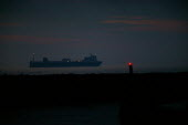 Ro-Ro car ferry passing close to the coast at night. North Sea. - John Harris - 26-07-2007