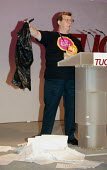 Phil Davies GMB and Remploy addressing TUC Conference 2007 with letters sent to disabled workers outlining redundancy packages for around 2,500 workers in the 43 Remploy factories earmarked for closur... - John Harris - 11-09-2007