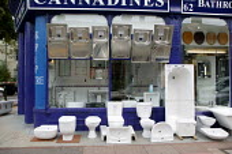 Bathroom fittings shop, Brighton. - John Harris - 2000s,2007,basin,basins,bath,baths,bathtub,bathtubs,bought,buy,buyer,buyers,buying,commodities,commodity,consumer,consumers,customer,customers,display,displays,EBF Economy,enamel,enameled,fixture,fixt