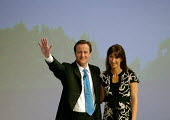 David Cameron and his wife Samantha after addressing Conservative Party Conference Blackpool - John Harris - 2000s,2007,applauding,applause,Conference,conferences,CONSERVATIVE,conservatives,mp,Party,pol politics,Standing ovation
