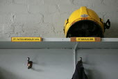 The space in the locker room for the helmet and tunic of Darren Yates Badley at Alcester Fire Station. Four firefighters died in the fire at the Atherstone warehouse. - John Harris - 08-11-2007