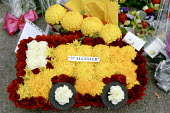 Floral tribute at Alcester Fire Station. Four firefighters died in the fire at the Atherstone warehouse. - John Harris - 08-11-2007