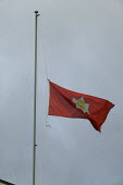 Brigade flag flying at half mast at Alcester Fire Station. Four firefighters died in the fire at the Atherstone warehouse. - John Harris - 08-11-2007