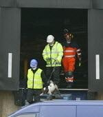 Specialist teams with sniffer dog leave the damaged structure in the search for the missing firefighters and look for clues to what caused the fire at a suspected arson at a warehouse in Warwickshire.... - John Harris - 2000s,2007,accident,accidental,ACCIDENTS,adult,adults,animal,animals,arson,at,Atherstone on stour,building,BUILDINGS,CLJ,crew,damage,damaged,danger,dangerous,death,deaths,DIA accidents accident,died,d