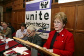 Holocaust survivor Mala Tribich speaking No Platform for Fascists in Oxford Union Rally in protest st the invitation of David Irving. - John Harris - 20-11-2007