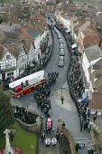 The funeral of Darren Yates-Badley, one of the four firefighters killed in the packhouse fire at Atherstone. Hundreds of firefighters lined the streets in memory of their colleague. Alcester Warwicksh... - John Harris - 07-12-2007