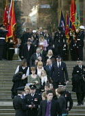 Family and friends leaving as hundreds of firefighters attended a memorial service to remember four of their colleagues killed in a warehouse blaze in Warwickshire. Ashley Stephens, 20, John Averis,... - John Harris - 25-01-2008