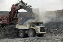 UK Coal opencast mine, Cutacre, Bolton. - John Harris - 2000s,2008,capitalism,capitalist,cast,coal,coalfield,digger,diggers,EBF,EBF economy,Economic,Economy,equipment,excavating,excavator,excavators,Industries,industry,job,jobs,LAB LBR Work,loader,loaders,
