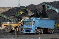 UK Coal opencast mine, Cutacre, Bolton. - John Harris - 2000s,2008,capitalism,capitalist,cast,coal,coalfield,digger,diggers,EBF,EBF economy,Economic,Economy,equipment,excavating,excavator,excavators,HAULAGE,HAULIER,HAULIERS,hgv,hgvs,Industries,industry,job