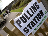Polling station. Stratford upon Avon - John Harris - 2000s,2008,council,democracy,election,elections,local,local authority,male,man,men,people,person,persons,pol politics,political,POLITICIAN,POLITICIANS,politics,polling,station,STATIONS,turnout,vote,vo