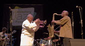 Hugh Masekela, South African Jazz musician and Anti Aparthid campaigner playing, Coventry Jazz Festival - John Harris - 2000s,2008,ACE,ace culture,african,africans,Afrobeat,BAME,BAMEs,black,BME,bmes,brass,diversity,ethnicity,Festival,FESTIVALS,flugelhorn,Hugh,instrument,instruments,Jazz,Masekela,Mbaqanga,melody,minorit