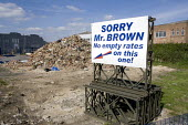 A large sign, in full view of the A40, on the site that used to be The Lightning Pub. It reads: Sorry Mr Brown, no empty rates on this one! The Government recently started charging business rates on e... - John Harris - ,2000s,2008,Brownfield Site,building,buildings,business,charging,cities,city,commercial,communicating,communication,DEMOLISH,demolished,demolition,developer,developers,DEVELOPMENT,EBF,Economic,Economy