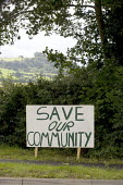 Save our Community Banner protesting at the proposed new Middle Quinton eco town Long Maston village, Warwickshire. - John Harris - 29-07-2008