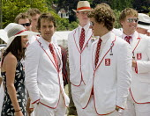 Rowing team at Henley Regatta - John Harris - 2000s,2008,AFFLUENCE,AFFLUENT,Bourgeoisie,elite,elitism,EQUALITY,Henley Royal Regatta,high,high income,income,INCOMES,INEQUALITY,LFL Leisure,male,man,men,people,person,persons,PHYSICAL,privilege,privi