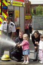 Visit by nursery children. Kam Basi, Group Manager, Derbyshire FRS, Ripley fire station, Derbyshire. - John Harris - 08-07-2008