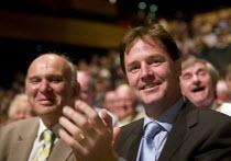 Vincent Cable MP and Nick Clegg MP, Liberal Democrat Conference. - John Harris - 2000s,2008,democrat,democrats,liberal,liberals,mp,mps,party,pol politics,politician,politicians,Vincent