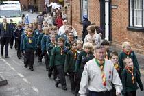 Cubs parade. Remembrance day, Stratford-upon-Avon, Warwickshire. - John Harris - 1st,2000s,2008,2nd,ACE,boy,boys,child,CHILDHOOD,children,culture,Emilio,female,females,first,girl,girls,juvenile,juveniles,kid,kids,male,people,procession,Remembrance,Remembrance Day,second,ucw,war,wo