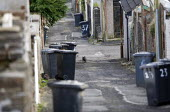 A cat walking down a back alley. Merthyr Tydfil - John Harris - 2000s,2008,alley,alleyway,animal,animals,back,bin,bins,cat,cats,collection,council estate,Council Services,council estate,Council Services,dustbin,dustbins,eni,eni environmental issues,environment,Env