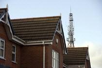 Mobile phone mast near houses, Merthyr Tydfil - John Harris - 10-12-2008