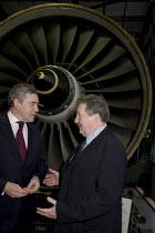 Gordon Brown talking to Derek Simpson Unite the union, Rolls Royce Derby - John Harris - 2000s,2009,communicating,communication,conversation,conversations,dialogue,discourse,discuss,discusses,discussing,discussion,Labour Party,member,member members,members,people,pol politics,talk,talking