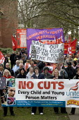 Protest by CYWU against cuts in children's and young people's services by Coventry City Council who propose to close essential after school clubs and activities; they propose to remove professional te... - John Harris - 14-02-2009