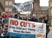 Protest by CYWU against cuts in childrens and young peoples youth services by Coventry City Council who propose to close essential after school clubs and activities; they propose to remove professiona... - John Harris - 14-02-2009