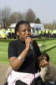 Former detainee describing her experiences. NoBorders, Campaign Against Immigration Controls. March to end indefinite immigration detention at Yarls Wood IDC Immigration Detention Centre. Bedfordshire... - John Harris - 22-03-2009