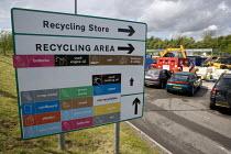 Recycling Area sign, council tip, Warwickshire - John Harris - 16-05-2009