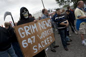 The Grim Reaper joins the picket at the refinery. Total sacked 647 striking contract workers at Lindsey oil refinery in Lincolnshire - John Harris - 23-06-2009