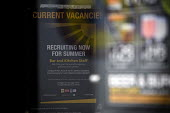 Sign advertising Current job vacancies, recruiting now for summer, bar and kitchen staff. Full time, part time and temporary positions this summer at a Wetherspoon pub, Stratford on Avon - John Harris - 13-06-2009