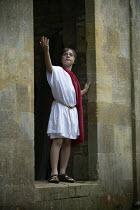 Emilio posing in Greek theatre costume, Stratford on Avon. - John Harris - 08-07-2009
