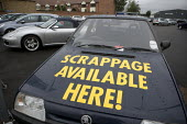 Old Skoda car on a dealers forecourt advertising the Car Scrappage Scheme. - John Harris - 01-08-2009