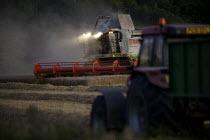 Combine harvester cutting wheat, Rutland. - John Harris - 21-08-2009