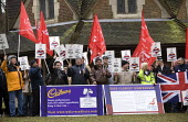 Cadbury workers protesting against the take over by Kraft and possible job cuts. Bournville, Birmingham - John Harris - 2010,2010s,activist,activists,against,Birmingham,buyout,CAMPAIGN,campaigner,campaigners,CAMPAIGNING,CAMPAIGNS,DEMONSTRATING,DEMONSTRATION,DEMONSTRATIONS,flag,flags,member,member members,members,people
