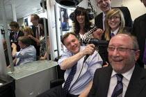 Ed Balls visiting the Madeley Academy school Telford. The Hair saloon. - John Harris - 22-04-2010
