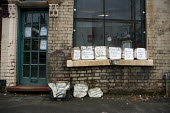Signs advertising goods for sale outside a local corner shop, The Potteries, Stoke on Trent - John Harris - 08-10-2010