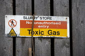 A sign warning of Toxic gas in a Slurry store, Taverner Farm in Exeter - John Harris - 10-11-2010