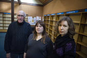 Friends of the library campaigners Peter Waterman, Emily Matteson and Rachel Wyatt. Wot No Books campaign to save Stony Stratford public library. Users have withdrawn the entire collection of 16,000 b... - John Harris - 18-01-2011