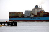 The Maersk Baltimore container ship docking at the port of Felixstowe, the cargo is from China. Suffolk - John Harris - 19-05-2011