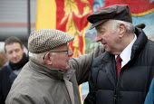 Arthur Scargill NUM being greeted by one of the workers at the picket. Commemoration of the events of forty years ago when the trade union movement won a victory in what is now known as The Battle of... - John Harris - 10-02-2012