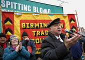Arthur Scargill NUM speaking, commemoration of the events of forty years ago when the trade union movement won a victory in what is now known as The Battle of Saltley Gates in support of the NUM miner... - John Harris - 10-02-2012