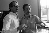Film Director, Ken Loach with one of his film crew during the filming of Which Side Are You On? - a documentary about the miners strike. - John Harris - 02-06-1984
