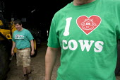 Farmworker with a I Love Cows t-shirt. Silage making on a farm, Wormleighton, Warwickshire - John Harris - 22-05-2012