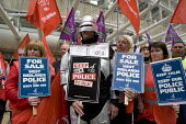 Unite police staff joined by Robocop - the cyborg law enforcer of the 1980s sci-fi classic. Police staff protest against Police privatisation outside meeting of the West Midlands Police Authority, Bir... - John Harris - 24-05-2012